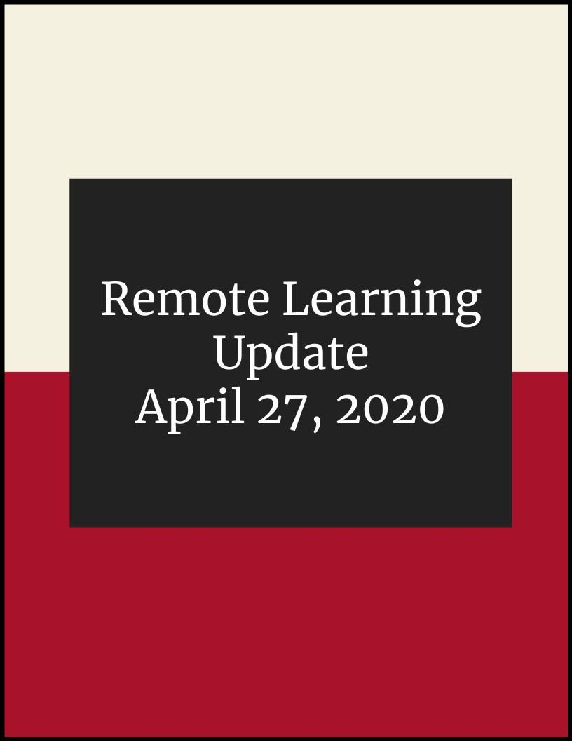 Remote Learning Update April 27