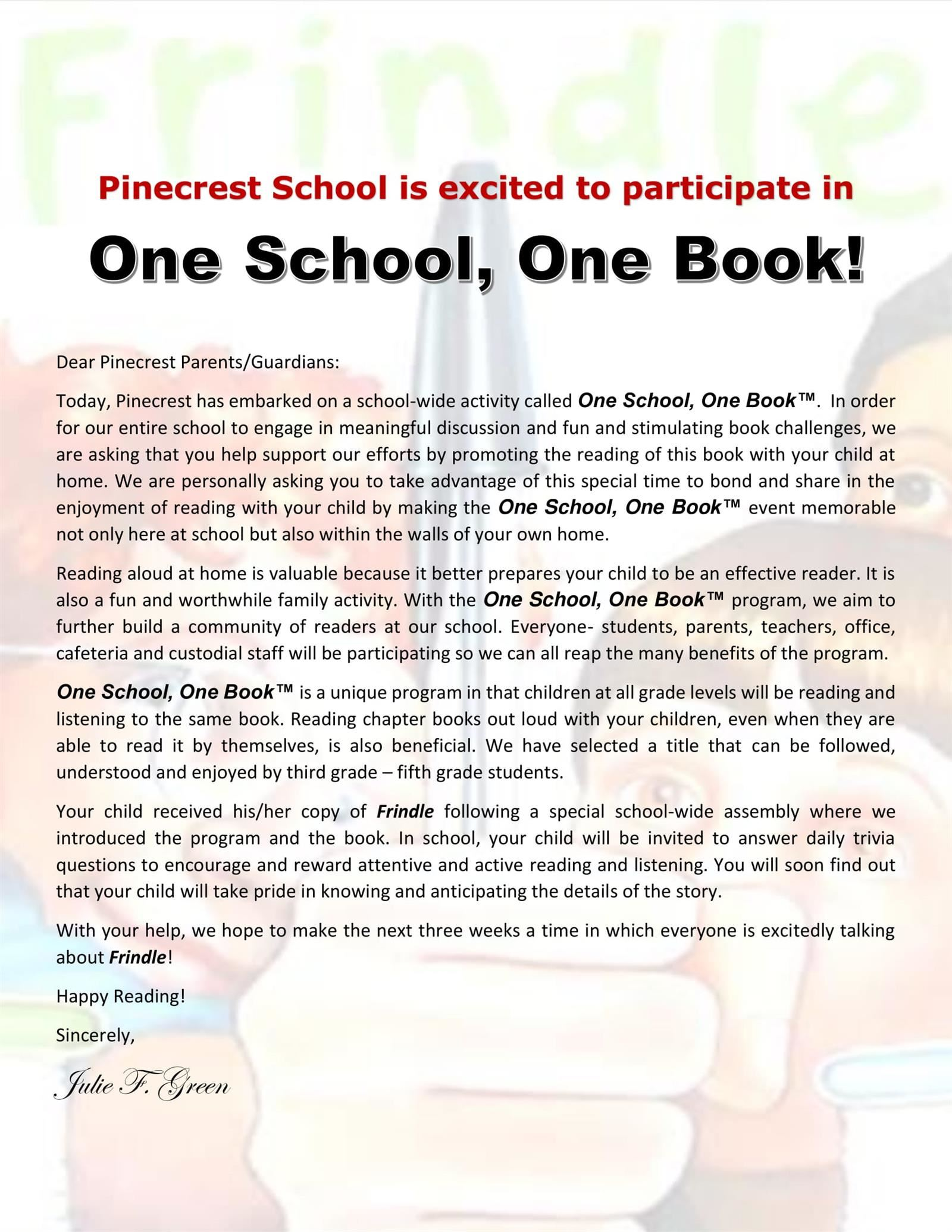 One School One Book is FRINDLE!