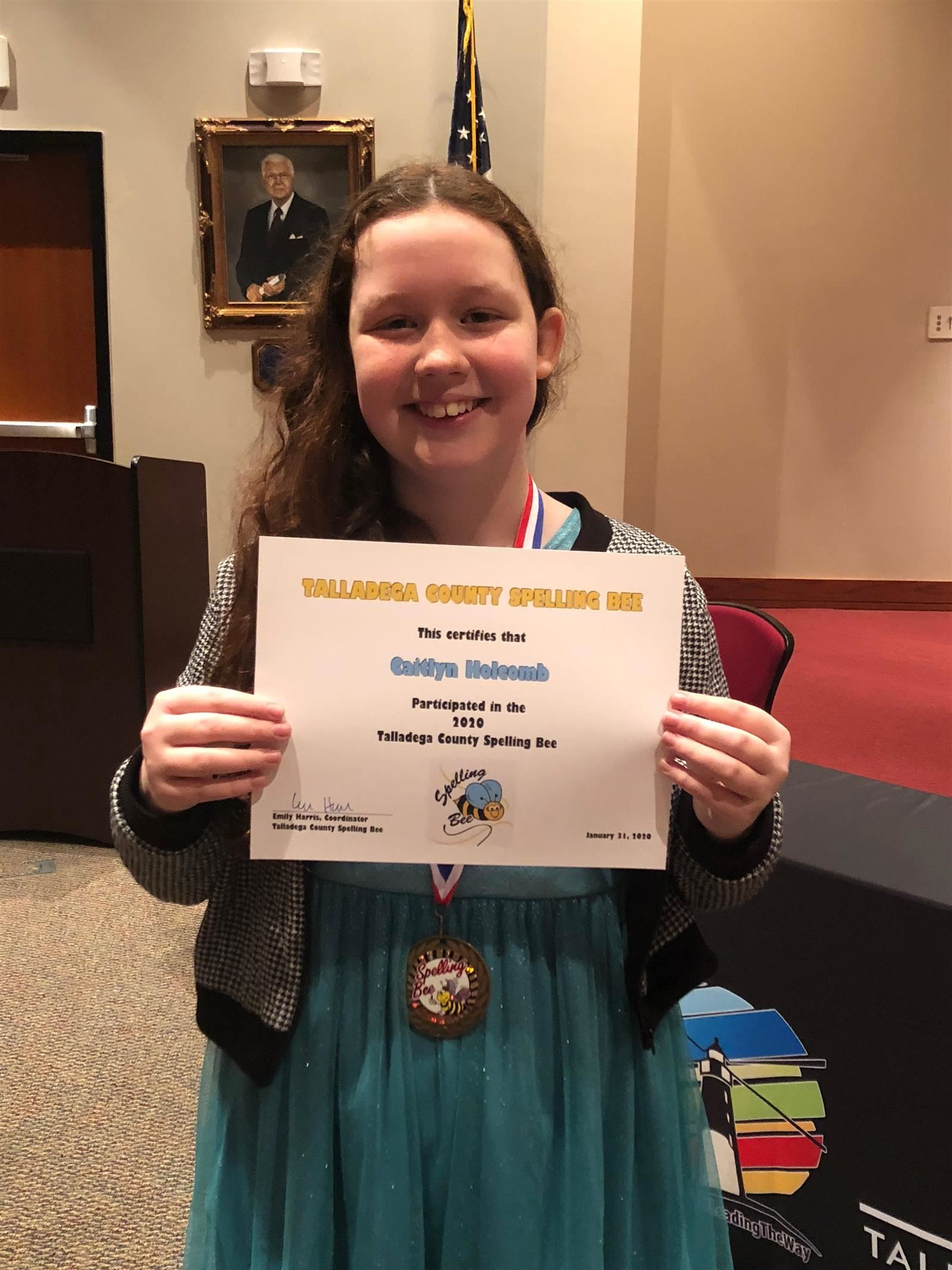 Caitlyn Holcomb Talladega County Spelling Bee Runner-Up