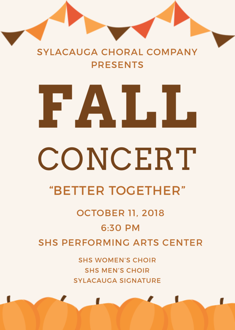 SHS Choral Fall Concert Flyer. Additional information on SHS Choral Fall Concert website
