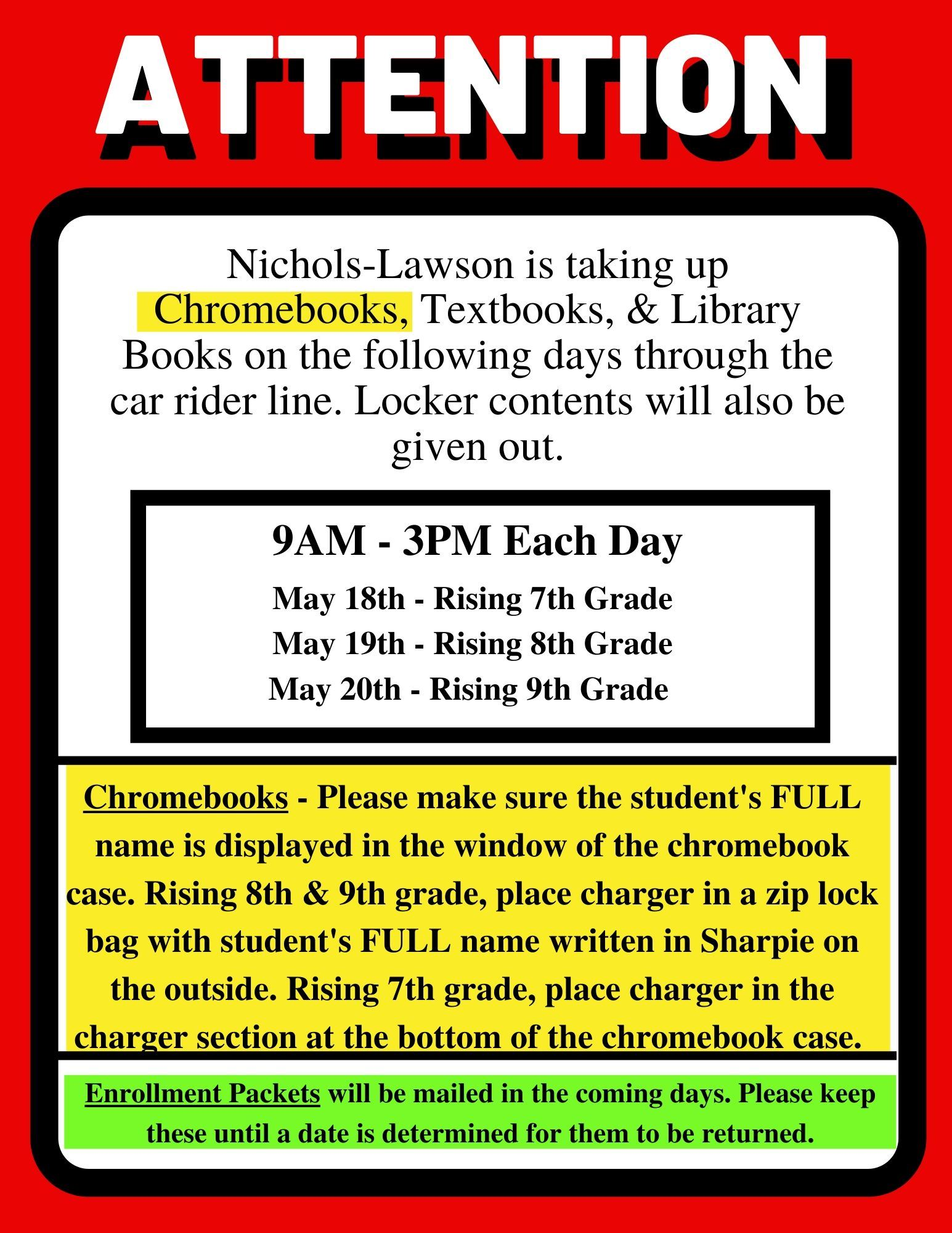 Chromebook/Textbook Takeup