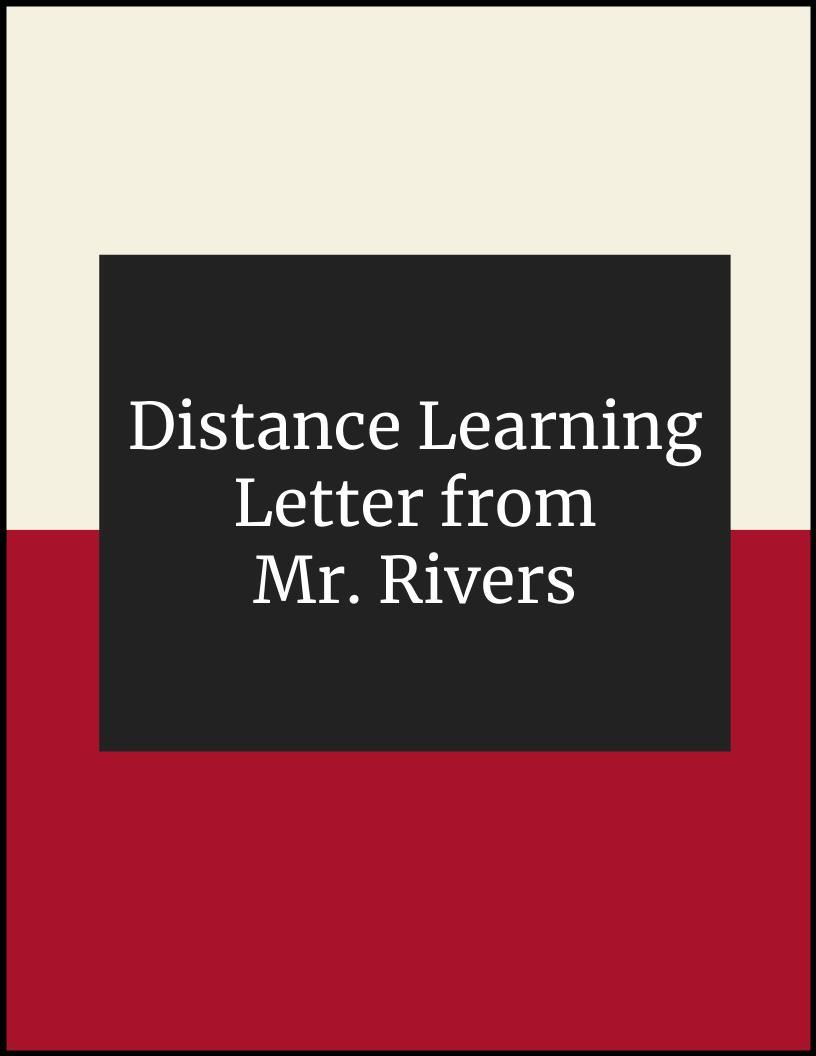 Distance Learning Letter from Mr. Rivers