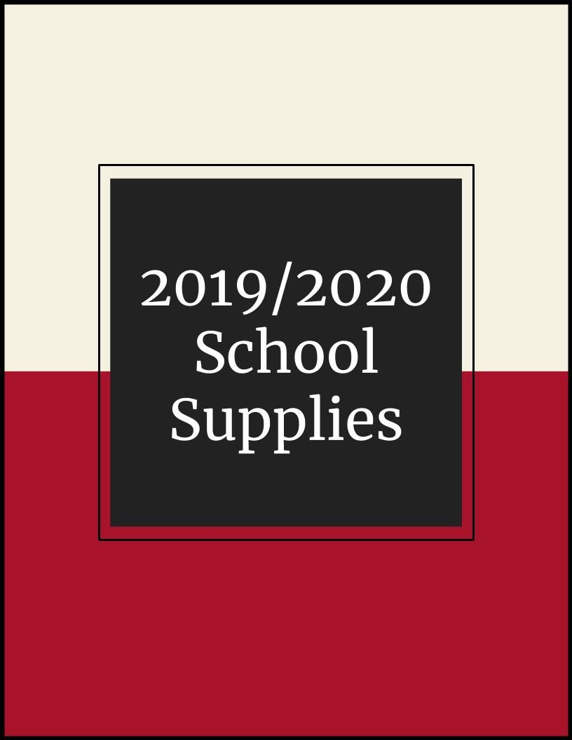 2019/2020 School Supply Lists