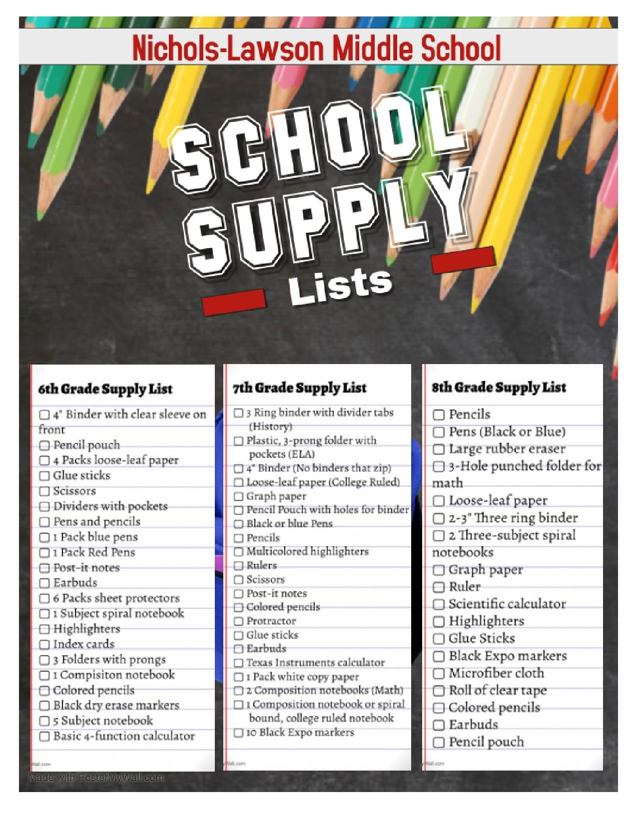 2020/2021 School Supply Lists