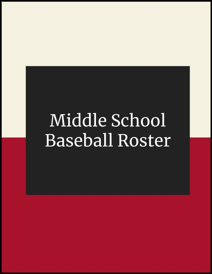 Middle School Baseball Roster 2020/2021